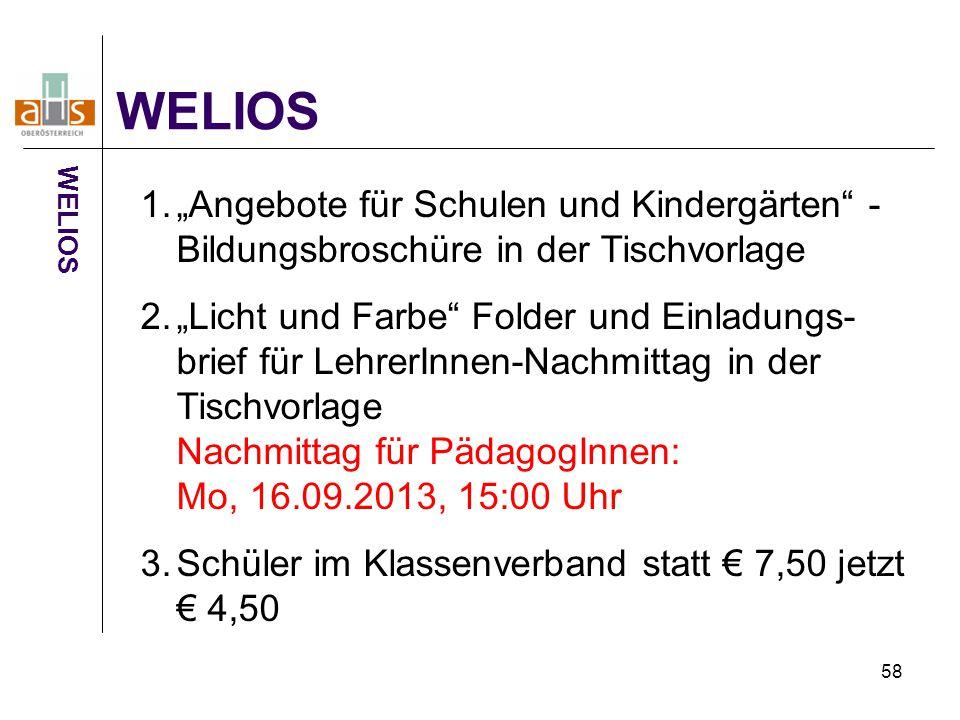 """WELIOS WELIOS. """"Angebote für Schulen und Kindergärten - Bildungsbroschüre in der Tischvorlage."""