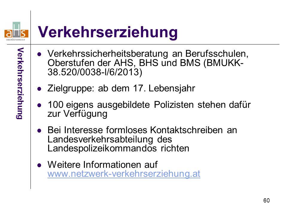 Verkehrserziehung Verkehrserziehung. Verkehrssicherheitsberatung an Berufsschulen, Oberstufen der AHS, BHS und BMS (BMUKK-38.520/0038-l/6/2013)