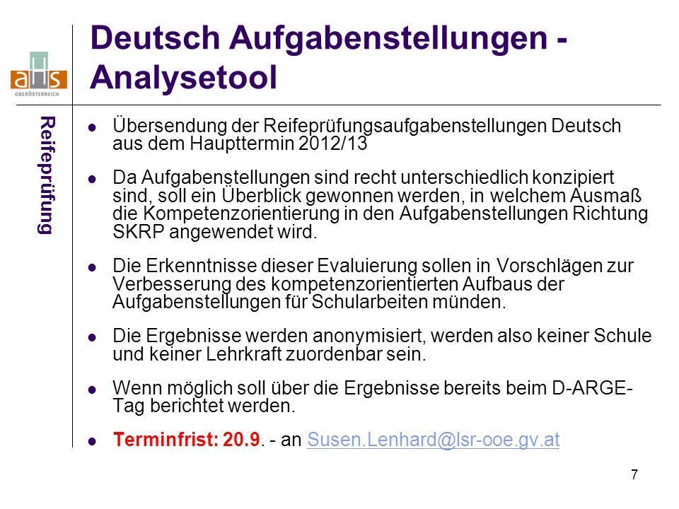 Deutsch Aufgabenstellungen - Analysetool