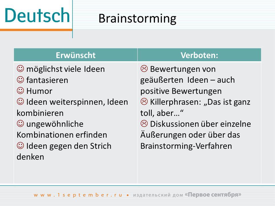 Brainstorming Erwünscht Verboten:  möglichst viele Ideen