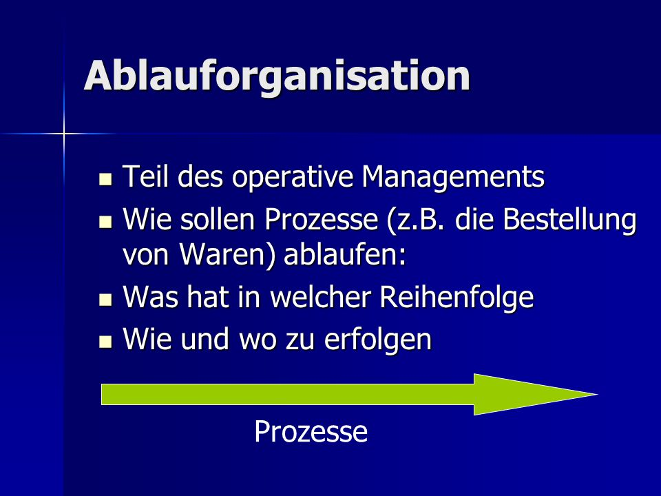 Ablauforganisation Teil des operative Managements