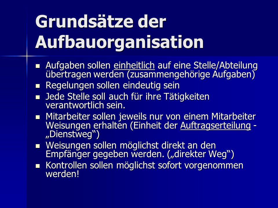 Grundsätze der Aufbauorganisation