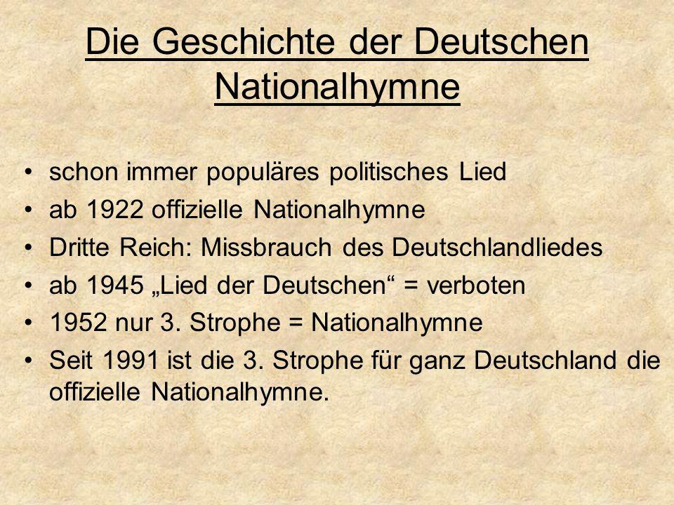 Die Geschichte der Deutschen Nationalhymne