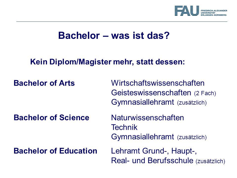 Bachelor – was ist das Kein Diplom/Magister mehr, statt dessen: