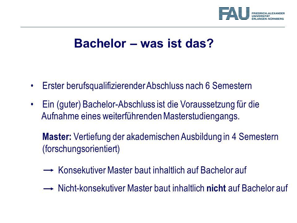 Bachelor – was ist das Erster berufsqualifizierender Abschluss nach 6 Semestern.