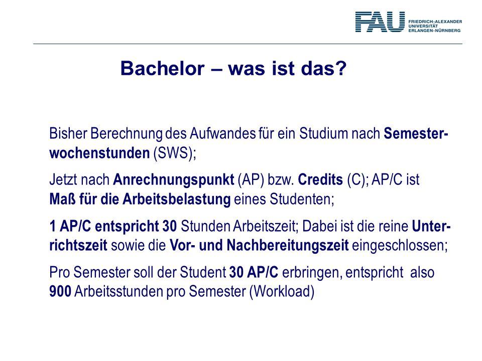 Bachelor – was ist das Bisher Berechnung des Aufwandes für ein Studium nach Semester- wochenstunden (SWS);