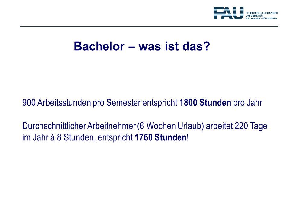 Bachelor – was ist das 900 Arbeitsstunden pro Semester entspricht 1800 Stunden pro Jahr.
