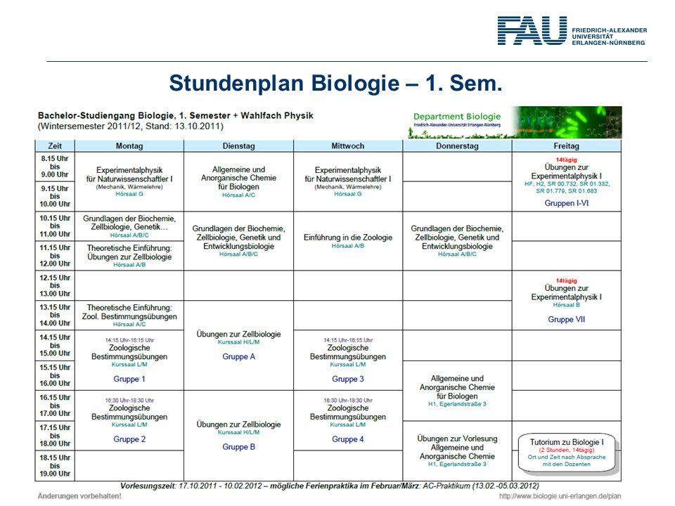 Stundenplan Biologie – 1. Sem.