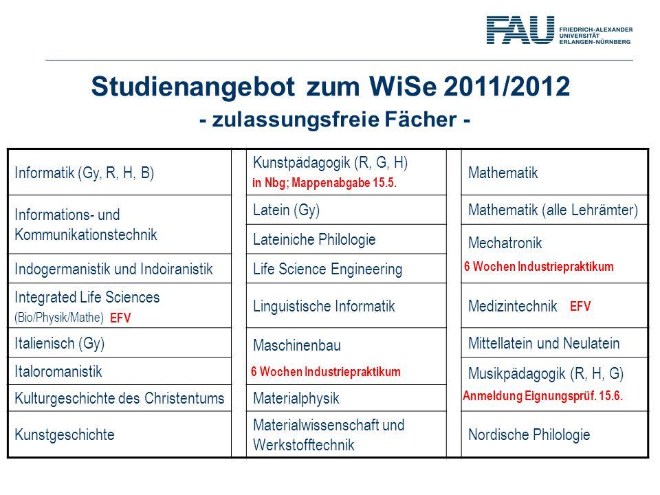 6 Wochen Industriepraktikum Anmeldung Eignungsprüf. 15.6.