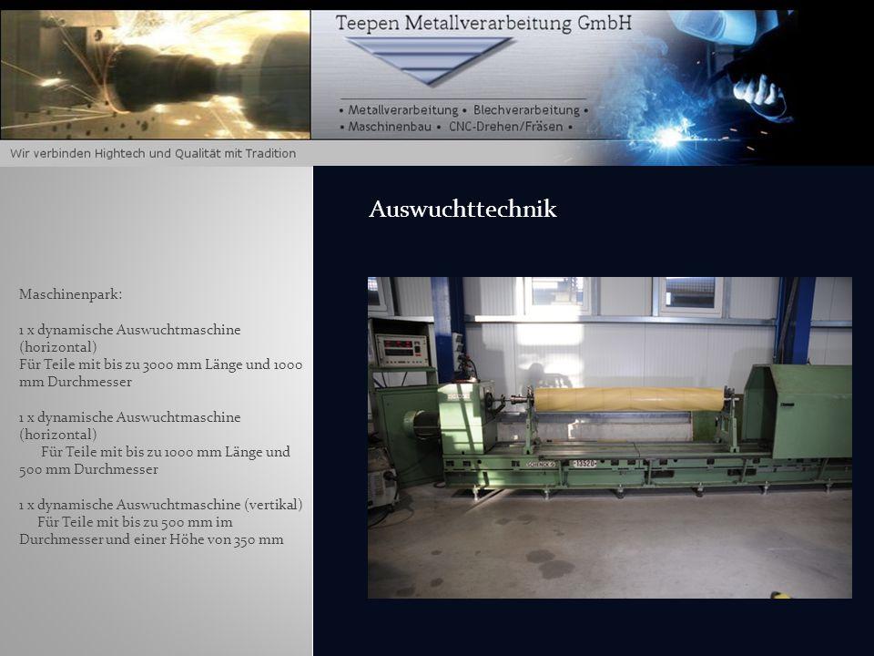 Auswuchttechnik Maschinenpark: