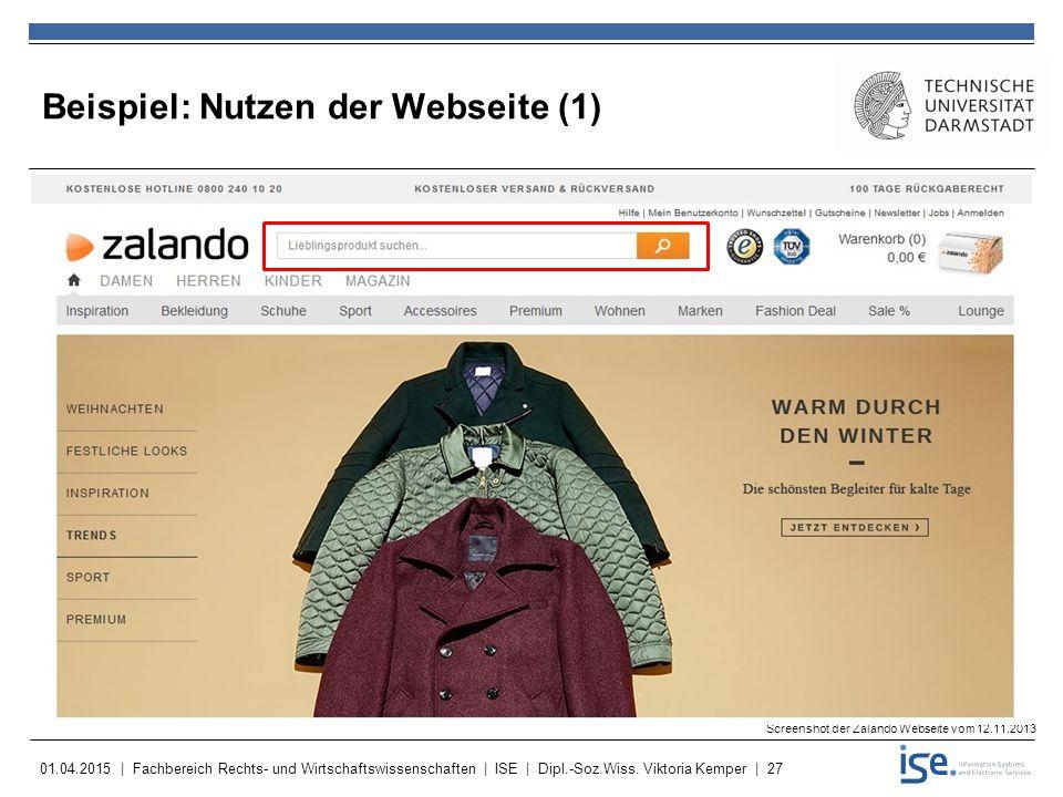 Beispiel: Nutzen der Webseite (1)