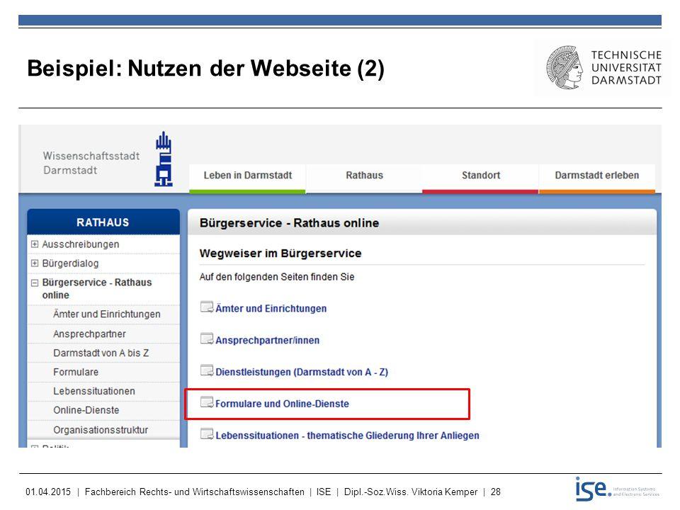 Beispiel: Nutzen der Webseite (2)