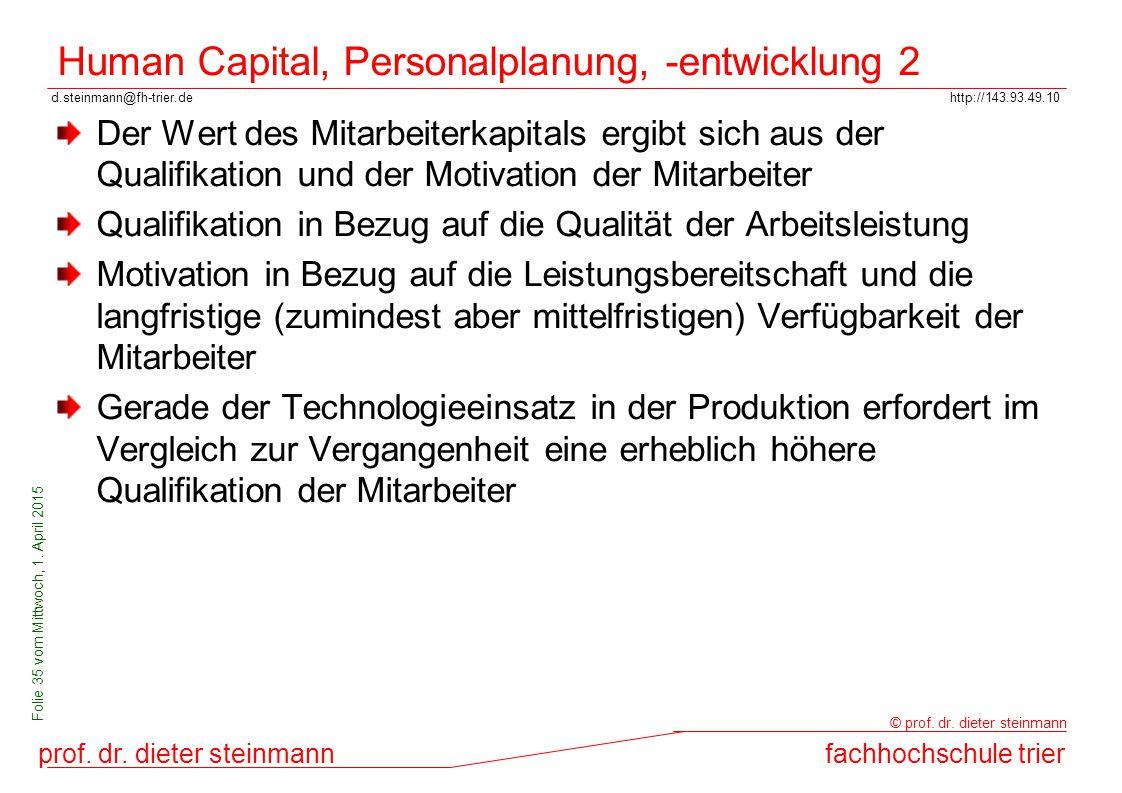 Human Capital, Personalplanung, -entwicklung 2