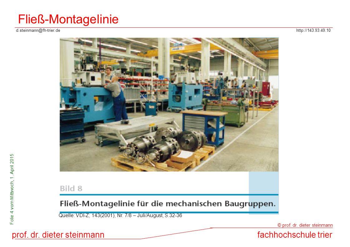 Fließ-Montagelinie Quelle: VDI-Z; 143(2001), Nr. 7/8 – Juli/August, S.32-36