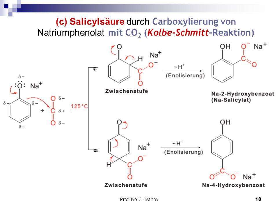 (c) Salicylsäure durch Carboxylierung von Natriumphenolat mit CO2 (Kolbe-Schmitt-Reaktion)