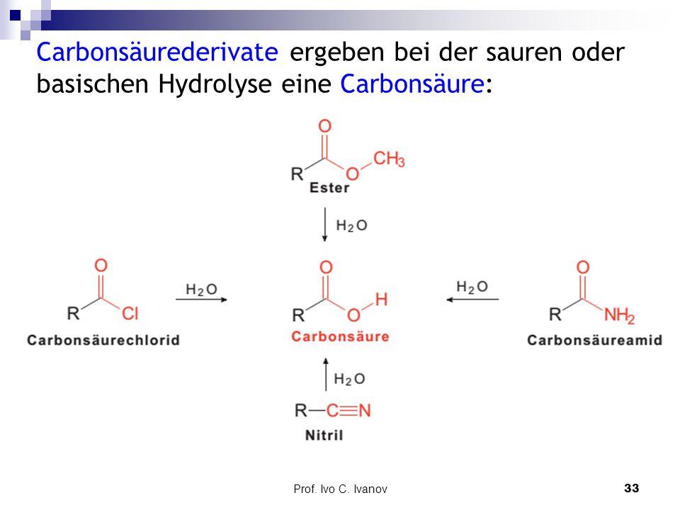Carbonsäurederivate ergeben bei der sauren oder basischen Hydrolyse eine Carbonsäure: