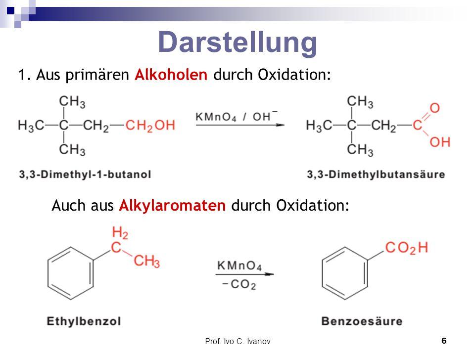 Darstellung 1. Aus primären Alkoholen durch Oxidation: