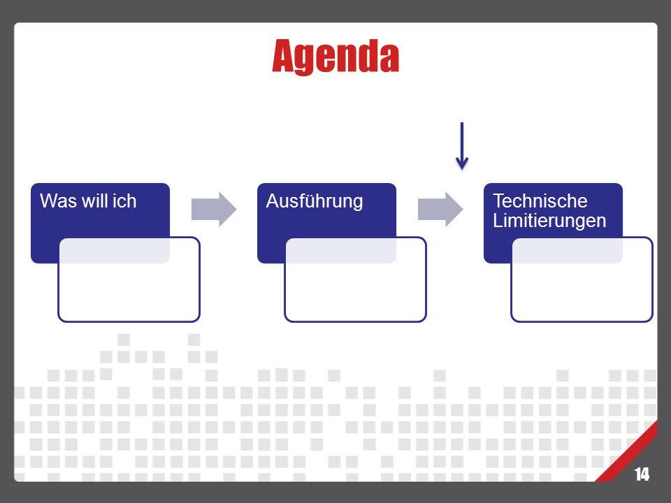 Agenda Was will ich Ausführung Technische Limitierungen 14
