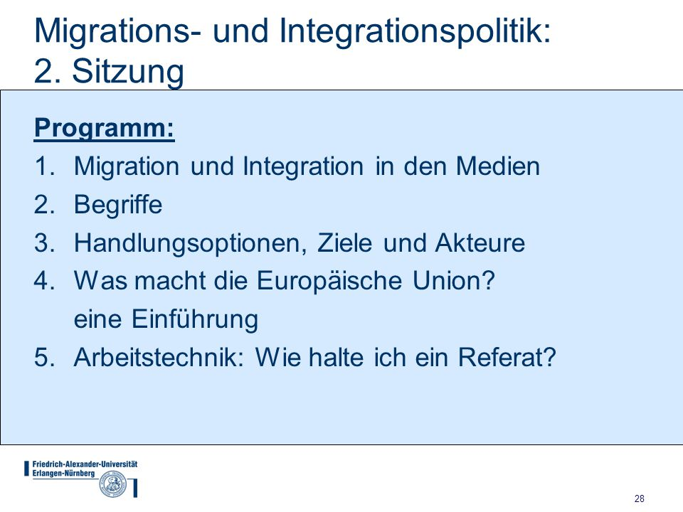 Migrations- und Integrationspolitik: 2. Sitzung