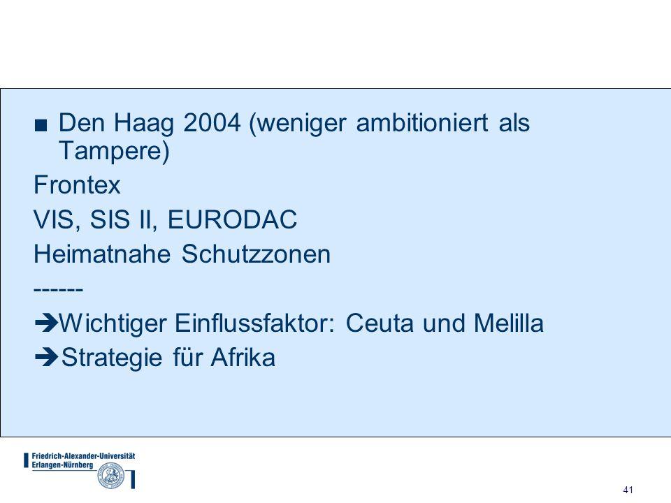 Den Haag 2004 (weniger ambitioniert als Tampere)