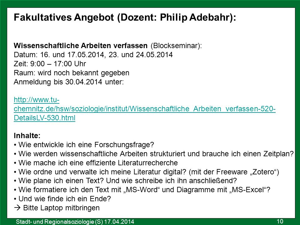 Fakultatives Angebot (Dozent: Philip Adebahr):
