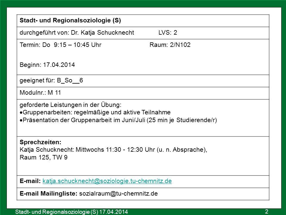 Stadt- und Regionalsoziologie (S)