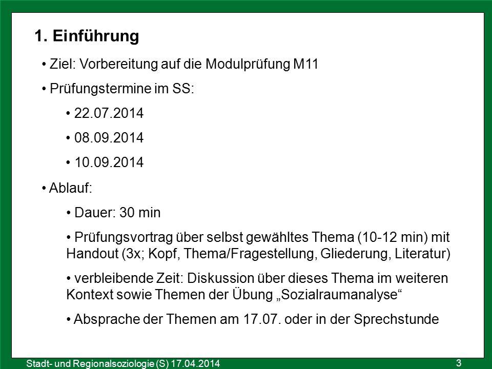 Einführung Ziel: Vorbereitung auf die Modulprüfung M11