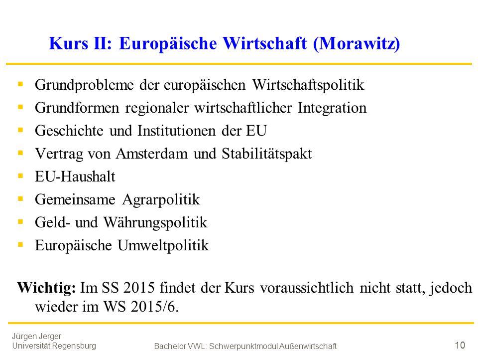 Kurs II: Europäische Wirtschaft (Morawitz)