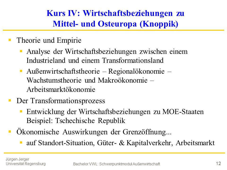 Kurs IV: Wirtschaftsbeziehungen zu Mittel- und Osteuropa (Knoppik)