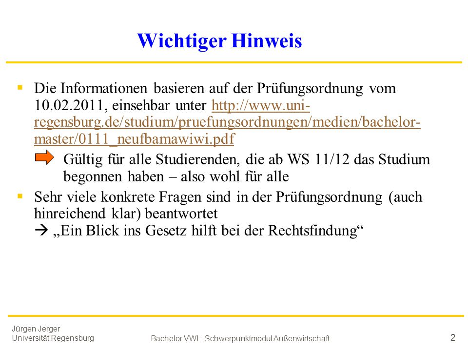 Bachelor VWL: Schwerpunktmodul Außenwirtschaft