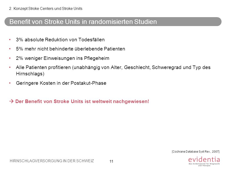 Benefit von Stroke Units in randomisierten Studien