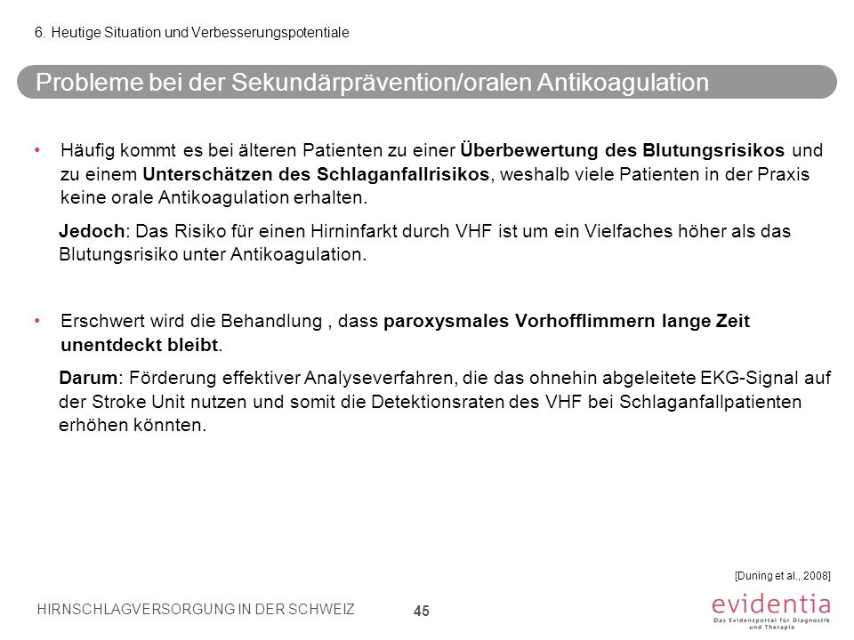 Probleme bei der Sekundärprävention/oralen Antikoagulation