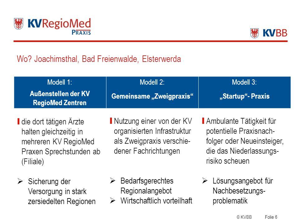 """Außenstellen der KV RegioMed Zentren Gemeinsame """"Zweigpraxis"""