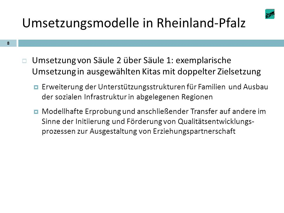 Umsetzungsmodelle in Rheinland-Pfalz