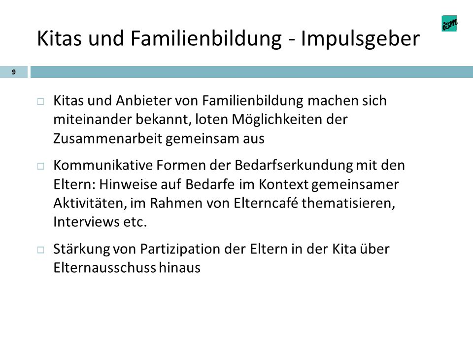 Kitas und Familienbildung - Impulsgeber