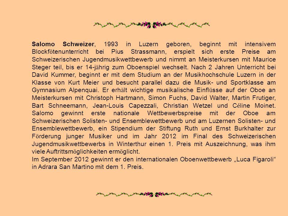 Salomo Schweizer, 1993 in Luzern geboren, beginnt mit intensivem Blockfötenunterricht bei Pius Strassmann, erspielt sich erste Preise am Schweizerischen Jugendmusikwettbewerb und nimmt an Meisterkursen mit Maurice Steger teil, bis er 14-jährig zum Oboenspiel wechselt. Nach 2 Jahren Unterricht bei David Kummer, beginnt er mit dem Studium an der Musikhochschule Luzern in der Klasse von Kurt Meier und besucht parallel dazu die Musik- und Sportklasse am Gymnasium Alpenquai. Er erhält wichtige musikalische Einflüsse auf der Oboe an Meisterkursen mit Christoph Hartmann, Simon Fuchs, David Walter, Martin Frutiger, Bart Schneemann, Jean-Louis Capezzali, Christian Wetzel und Céline Moinet. Salomo gewinnt erste nationale Wettbewerbspreise mit der Oboe am Schweizerischen Solisten- und Ensemblewettbewerb und am Luzernen Solisten- und Ensemblewettbewerb, ein Stipendium der Stiftung Ruth und Ernst Burkhalter zur Förderung junger Musiker und im Jahr 2012 im Final des Schweizerischen Jugendmusikwettbewerbs in Winterthur einen 1. Preis mit Auszeichnung, was ihm viele Auftrittsmöglichkeiten ermöglicht.