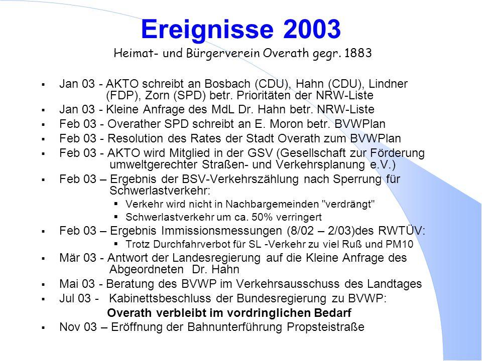 Ereignisse 2003 Heimat- und Bürgerverein Overath gegr. 1883