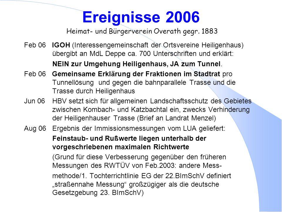 Ereignisse 2006 Heimat- und Bürgerverein Overath gegr. 1883