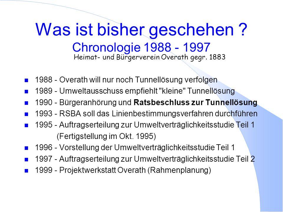 Was ist bisher geschehen Chronologie 1988 - 1997