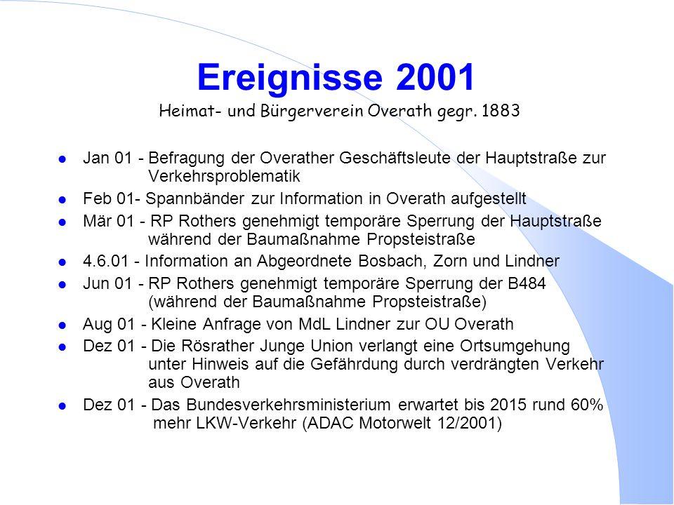 Ereignisse 2001 Heimat- und Bürgerverein Overath gegr. 1883