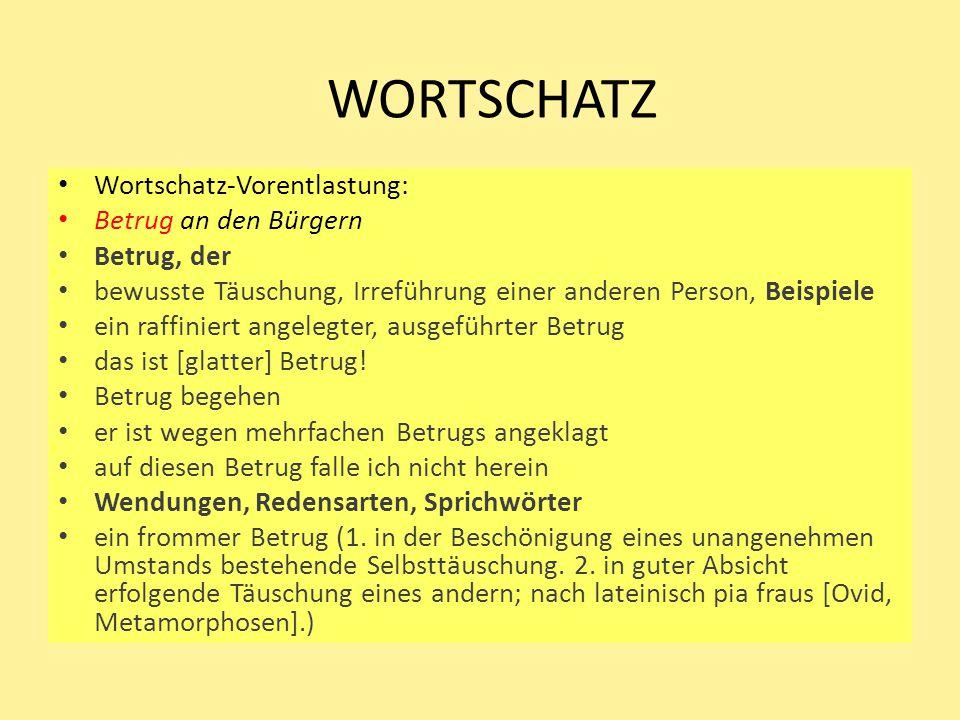 WORTSCHATZ Wortschatz-Vorentlastung: Betrug an den Bürgern