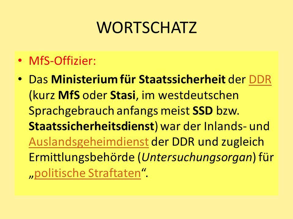 WORTSCHATZ MfS-Offizier: