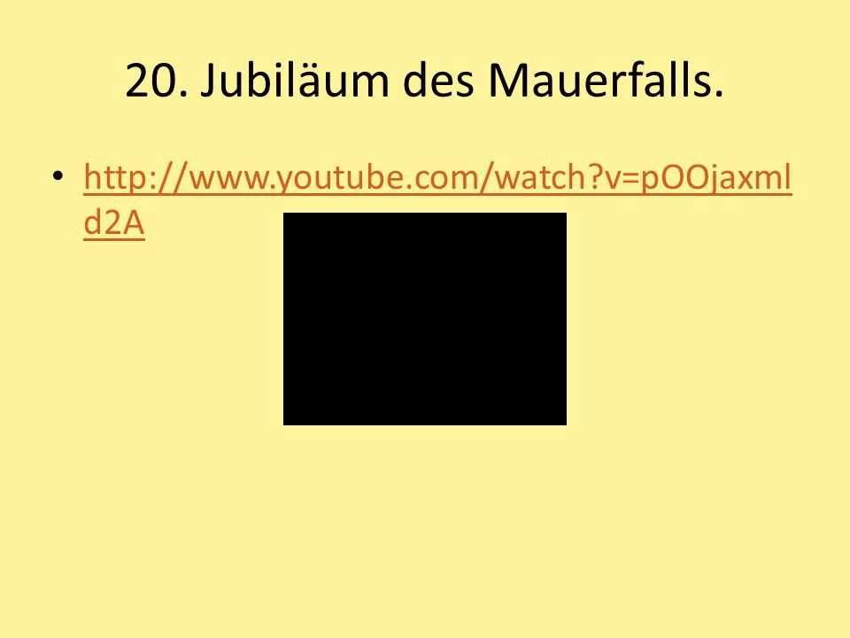 20. Jubiläum des Mauerfalls.