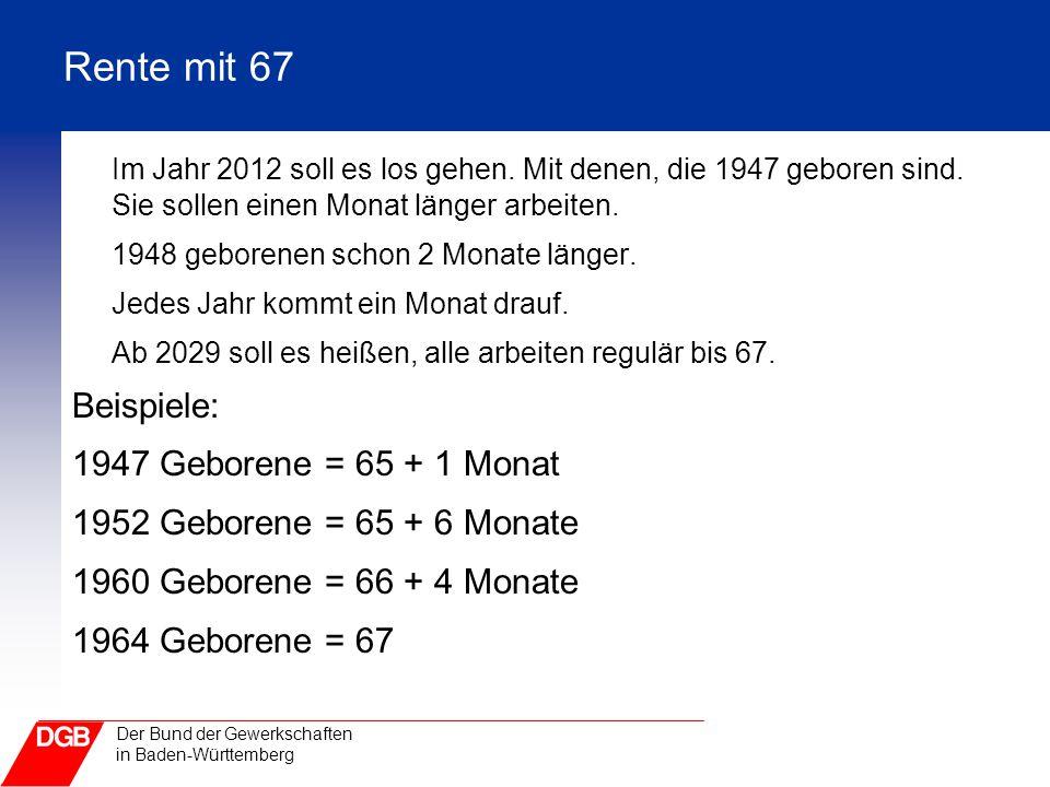 Rente mit 67 Im Jahr 2012 soll es los gehen. Mit denen, die 1947 geboren sind. Sie sollen einen Monat länger arbeiten.