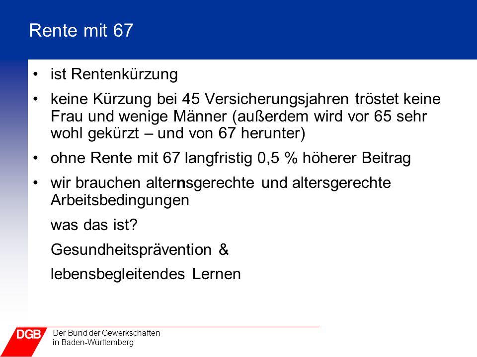 Rente mit 67 ist Rentenkürzung