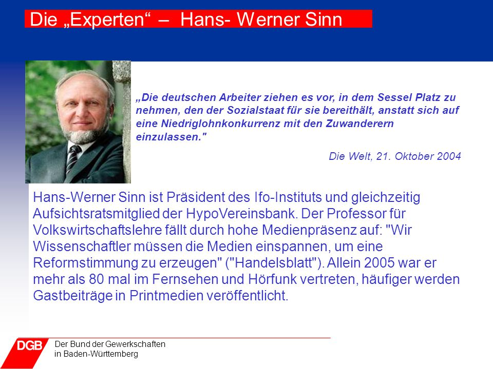 """Die """"Experten – Hans- Werner Sinn"""