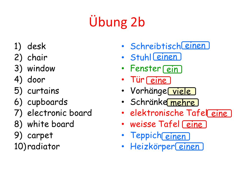 Übung 2b desk chair window door curtains cupboards electronic board