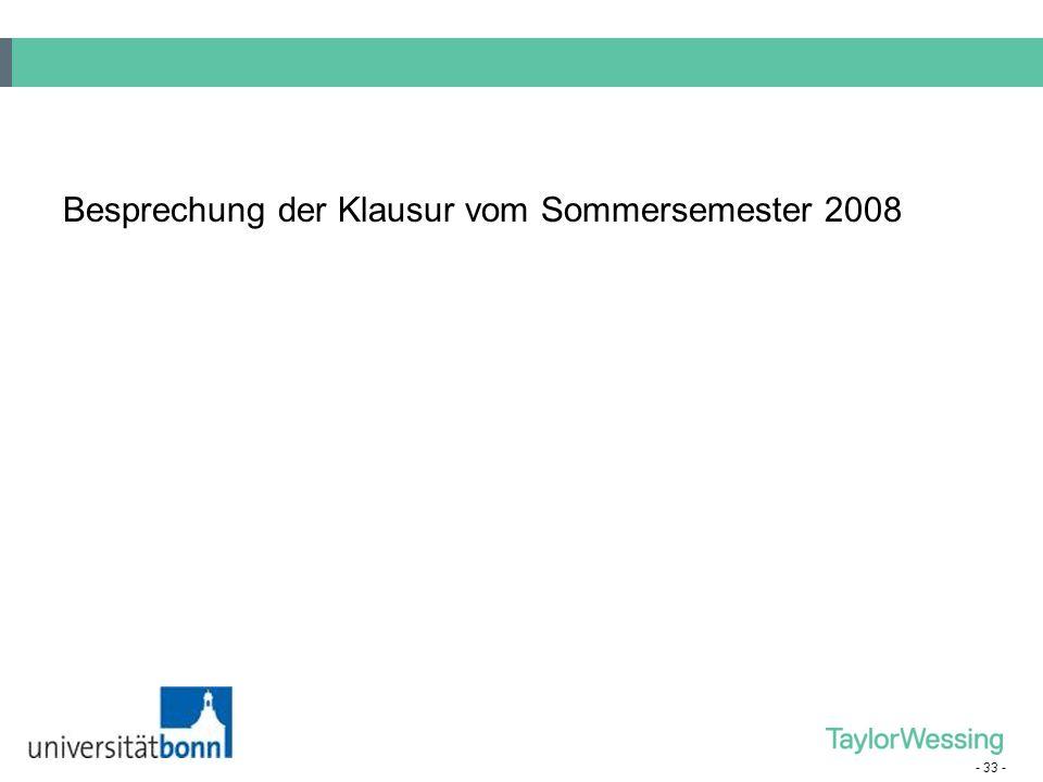 Besprechung der Klausur vom Sommersemester 2008