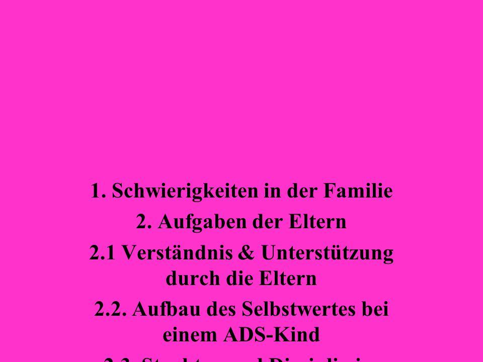 1. Schwierigkeiten in der Familie