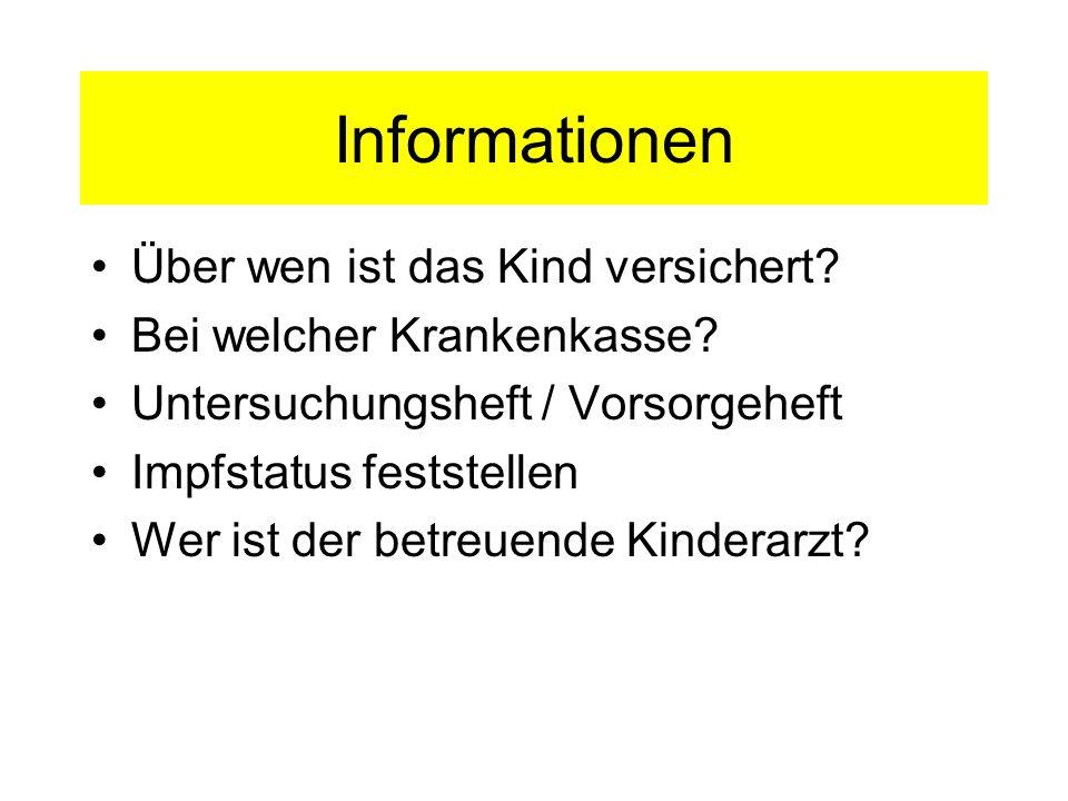 Informationen Über wen ist das Kind versichert